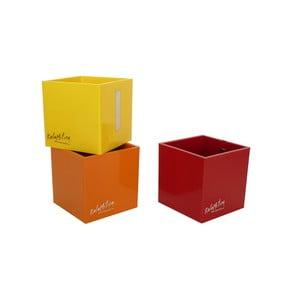 Sada 3 ks středních magnetických květináčů CUBE, červená