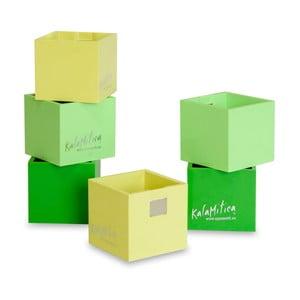 Set 6ks magnetických květináčů Cube Green, malý