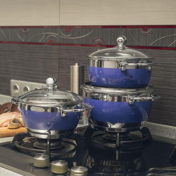 Sada 3 fialových hrnců s pokličkou Krauff Cook