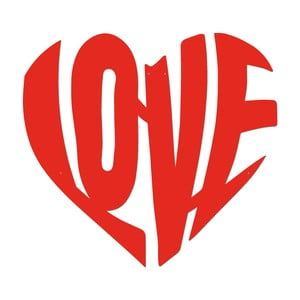 Červená kovová nástěnná dekorace Heart