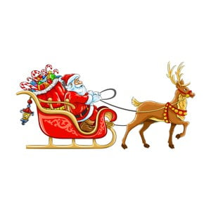 Vánoční samolepka Ambiance Santa Claus Sleigh
