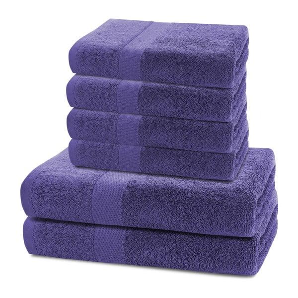 Set 2 fialových osušek a 4 ručníků DecoKing Marina