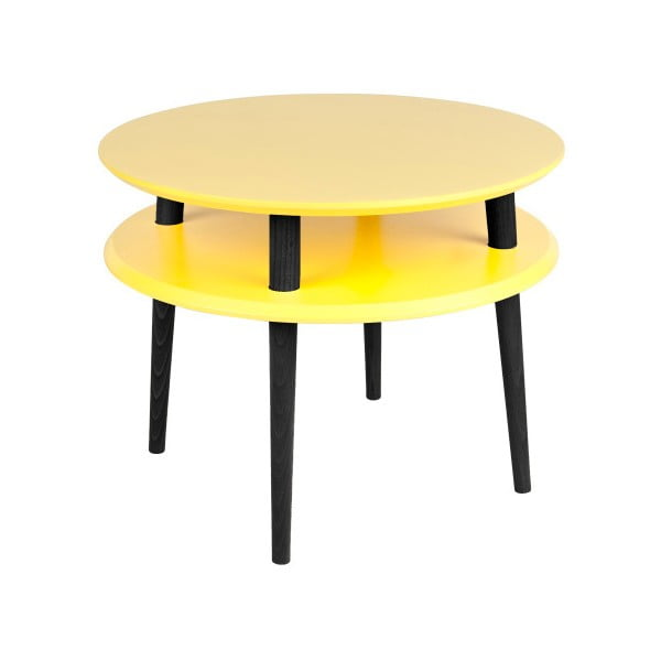 Masă de cafea cu picioare negre Ragaba UFO, Ø 57 cm, galben