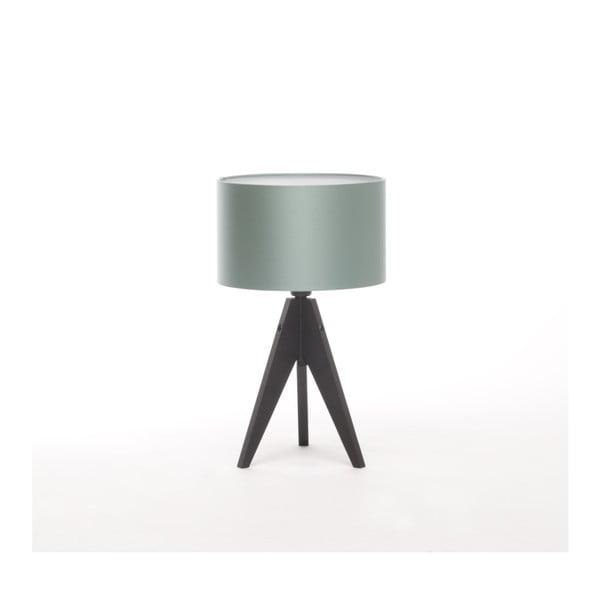 Ocelově modrá  stolní lampa 4room Artist, černá lakovaná bříza, Ø 25 cm