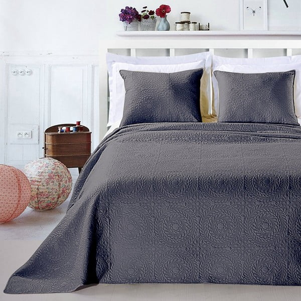 Sivý set obliečky na vankúš a plédu z mikrovlákna DecoKing Elodie, 240×260cm