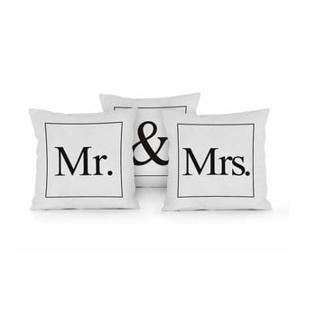 Set 3 perne Really Nice Things Mr & Mrs, 45 x 45 cm de la Really Nice Things