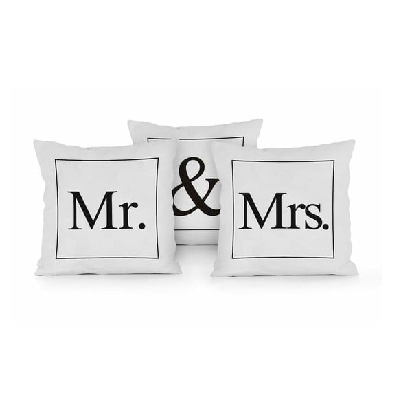 Set 3 perne Really Nice Things Mr & Mrs, 45 x 45 cm