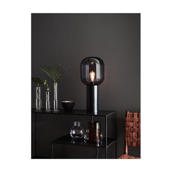 Šedá stolní lampa Markslöjd Brooklyn Smoke, ø24cm