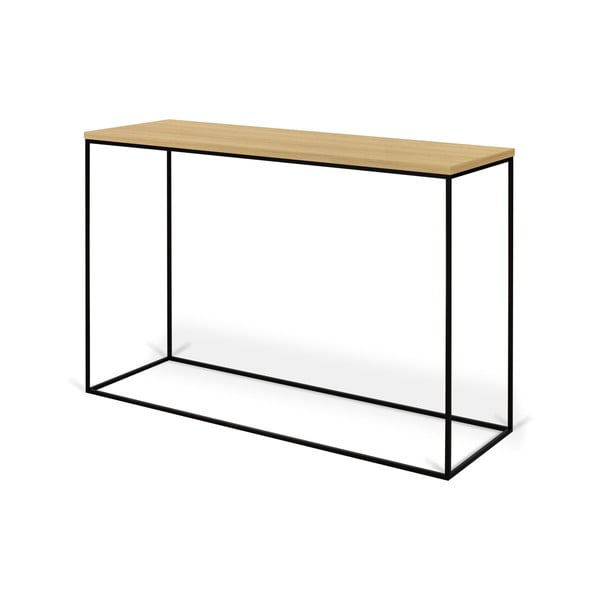 Konzolový stolek s deskou z dubu a černýma nohama TemaHome Gleam