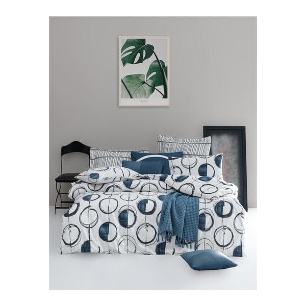 Povlečení s prostěradlem na dvoulůžko z ranforce bavlny Mijolnir Piksel Blue, 160 x 220 cm
