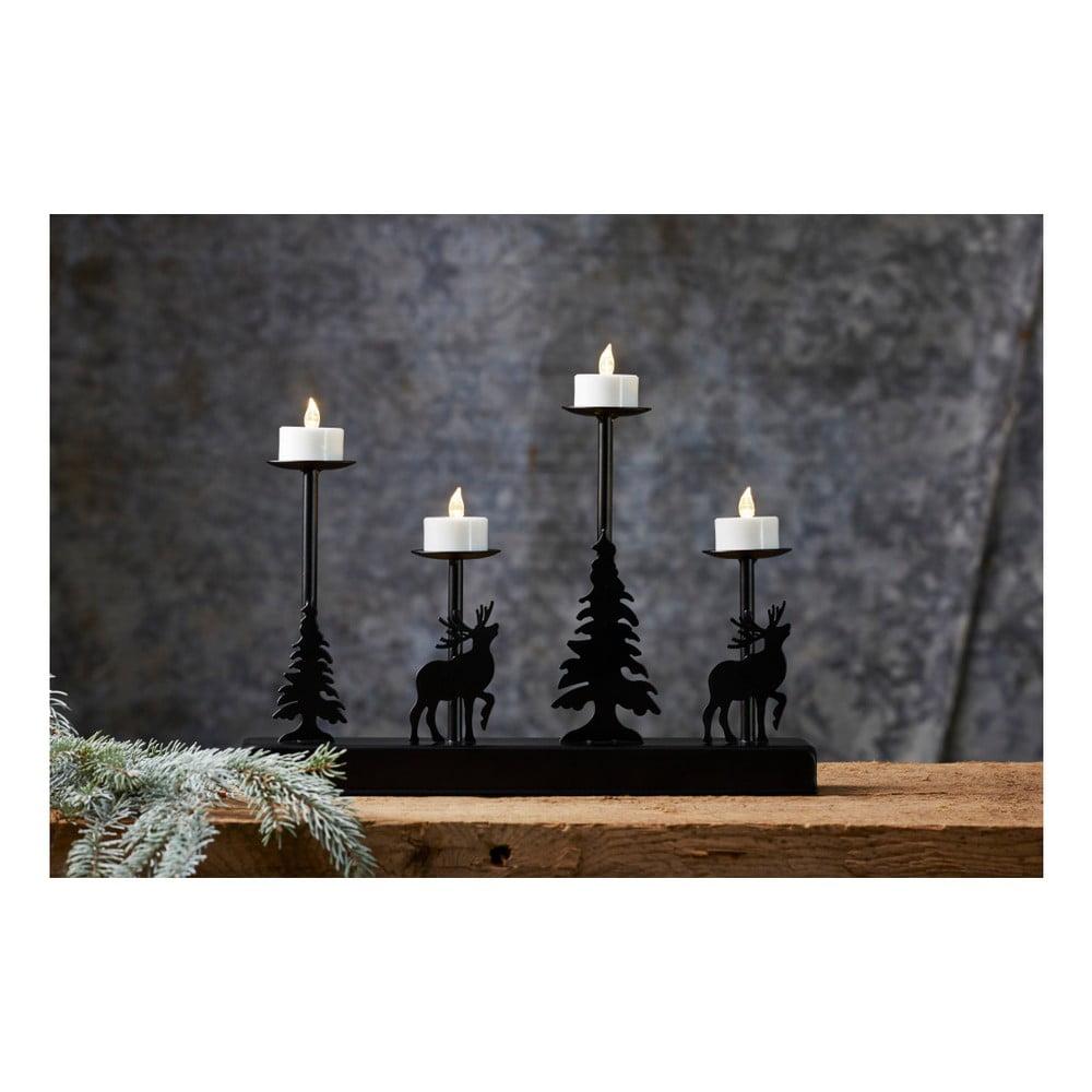 Černý svícen na čtyři LED svíčky Best Season Walder