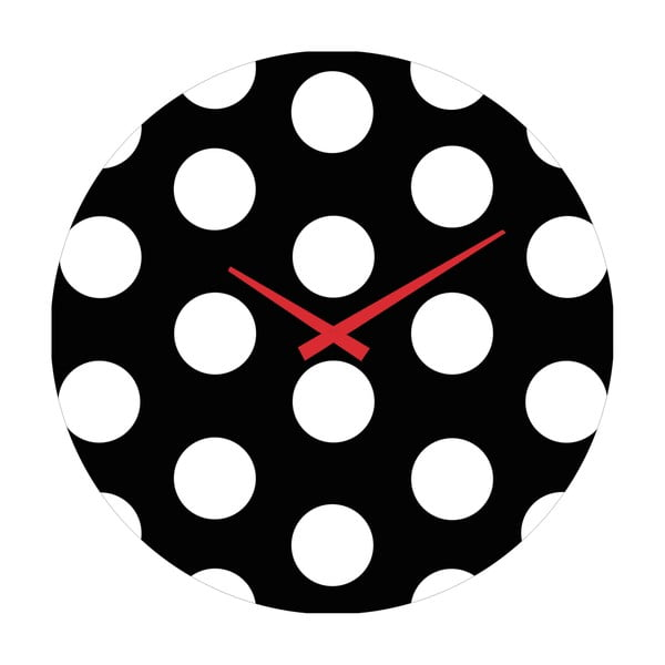 Skleněné hodiny Puntíky, 30 cm