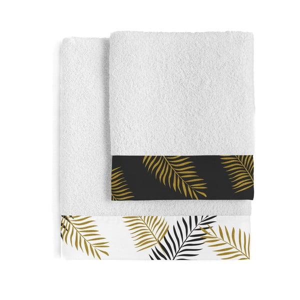 Sada 2 bavlněných ručníků Blanc Foliage