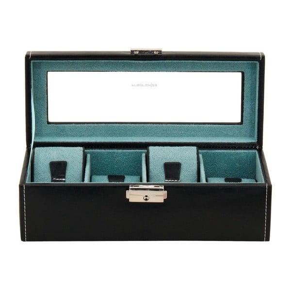 Černý box na 4 hodinky Friedrich Lederwaren Bond