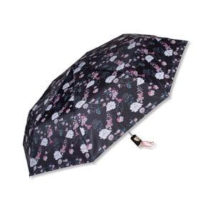 Černý deštník s květinovým motivem Tri-Coastal Design Flower