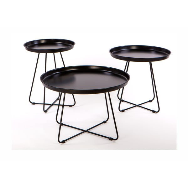 Pogorze 3 db-os fekete fém dohányzóasztal szett - Nørdifra