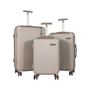Sada 3 béžových cestovních kufrů na kolečkách Travel World Ebby