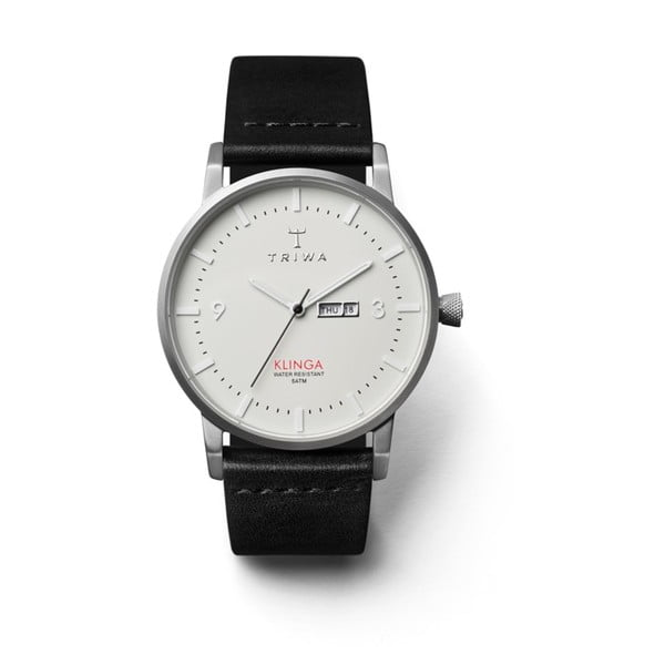 Unisex hodinky s černým koženým řemínkem Triwa Dawn Klinga