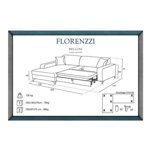 Hnědá rozkládací pohovka Florenzzi Bellini s lenoškou na levé straně