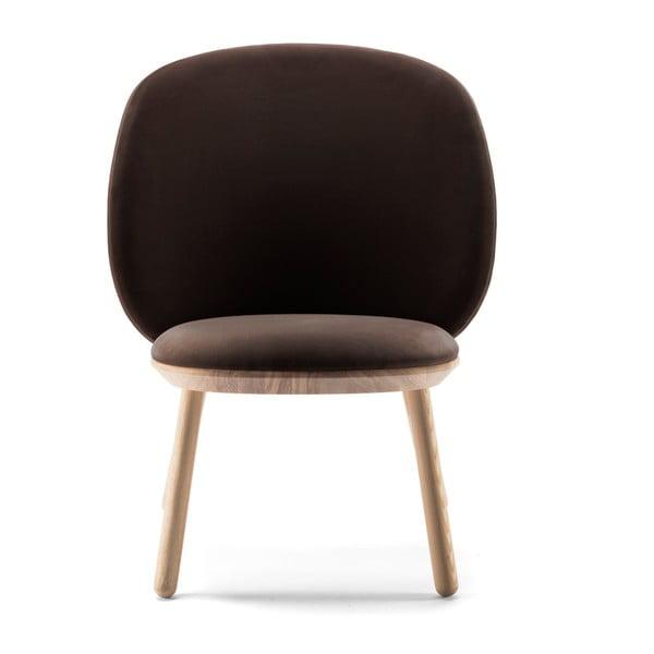 Naïve sötétbarna fotel kőrisfa lábakkal és bőr részletekkel - EMKO
