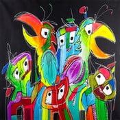 Line B Parrot 2, 100x100 cm