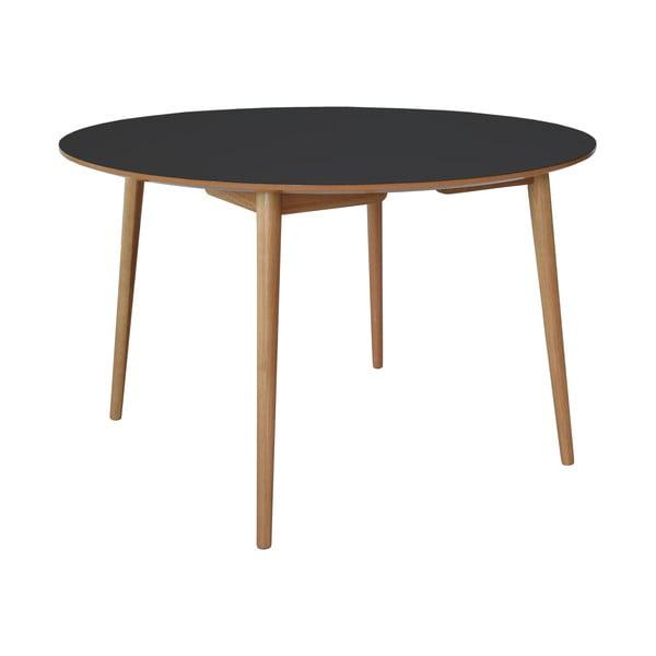 Jídelní stůl Trim, černá deska/dubové nohy