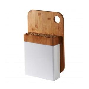 Bílý stojan na nože s dřevěným krájecím prkénkem Typhoon Connect