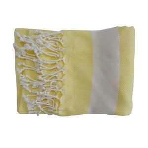 Prosop țesut manual din bumbac premium Lidya, 100 x 80 cm, galben