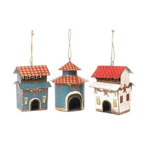 Sada 3 závěsných dekorací Bird Houses