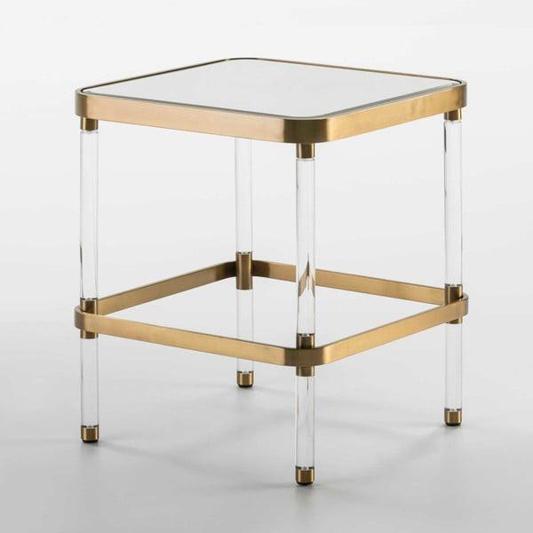 Zrcadlový odkládací stolek s detaily ve zlaté barvě Thai Natura, délka50cm