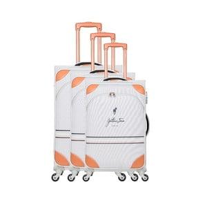Sada 3 bílých cestovních kufrů na kolečkách GENTLEMAN FARMER Trippy