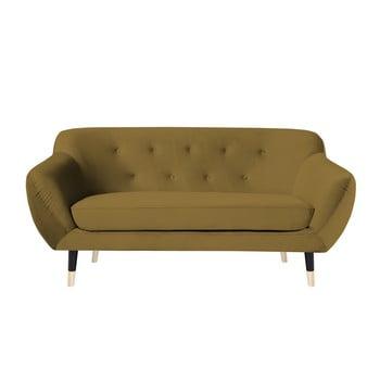 Canapea cu 2 locuri Mazzini Sofas AMELIE cu picioare negre, galben muștar de la Mazzini Sofas