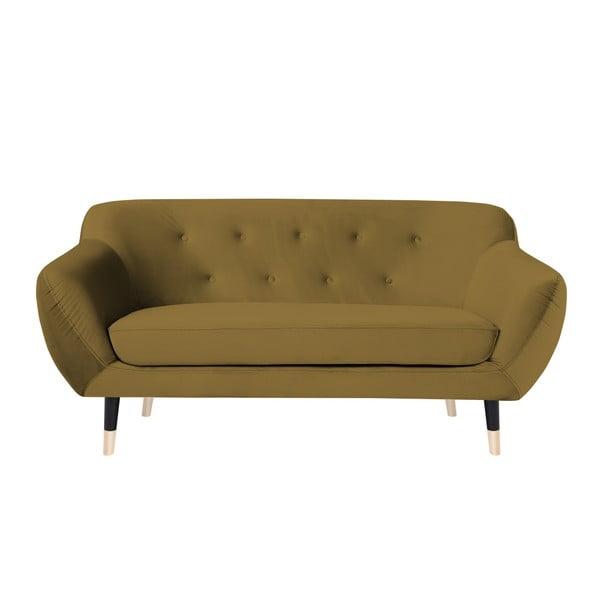 Canapea cu 2 locuri Mazzini Sofas AMELIE cu picioare negre, galben muștar
