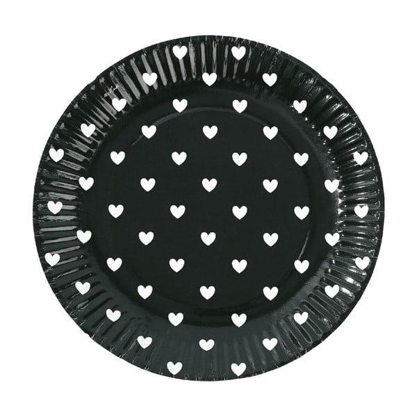 Sada papírových talířů Black Hearts, 8 ks