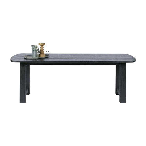 Černý jídelní stůl z dubového dřeva De Eekhoorn Identity, 220x90cm