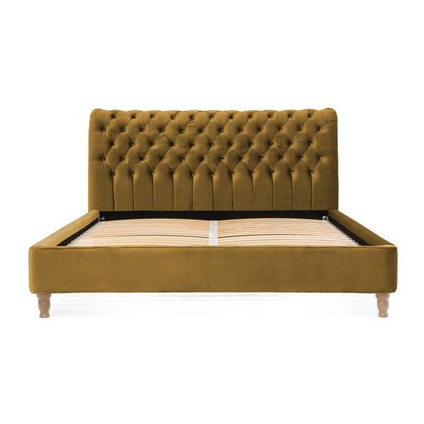 Allon mustárbarna ágy bükkfából, 140 x 200 cm - Vivonita