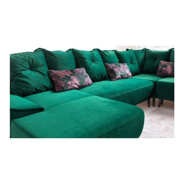 Zelená rozkládací pohovka s lenoškou Bobochic Paris Hera, levý roh