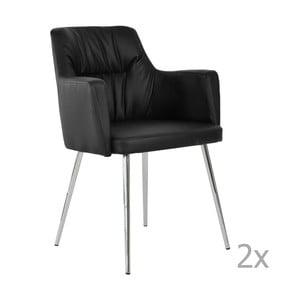 Set 2 scaune dining din piele RGE Mars, negru