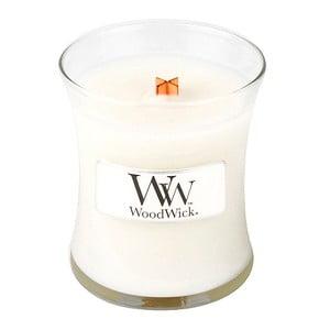 Svíčka s vůní čerstvě vypraného prádla WoodWick Čisté prádlo, dobahoření20hodin