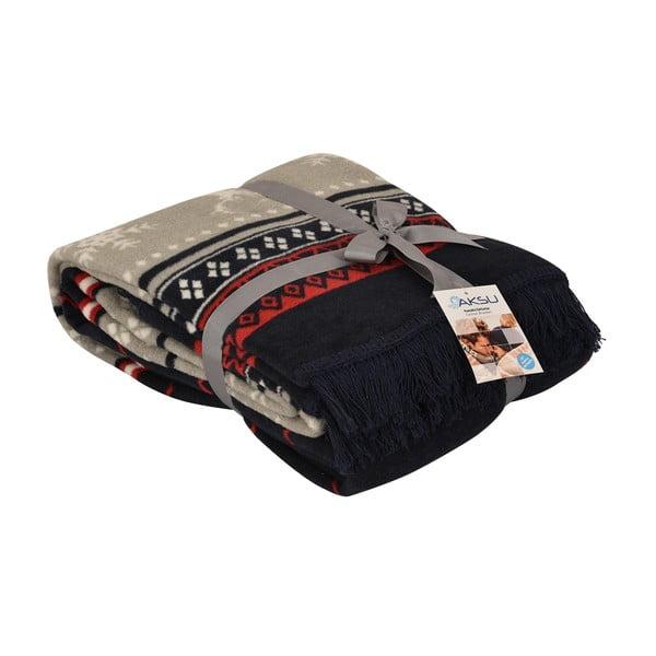 Koc z domieszką bawełny Aksu Carmelo Blanche, 200x150 cm