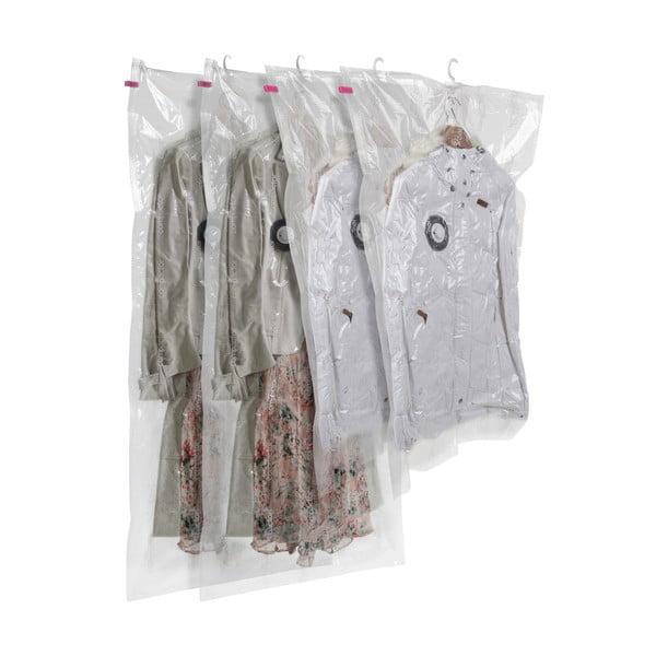 Sada 4 závesných vakuových úložných obalov na oblečenie Compactor Hanging Vacuum Bags, 105 x 70 cm
