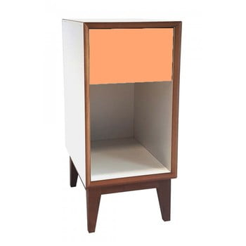 Noptieră cu cadru alb și sertar portocaliu Ragaba PIX