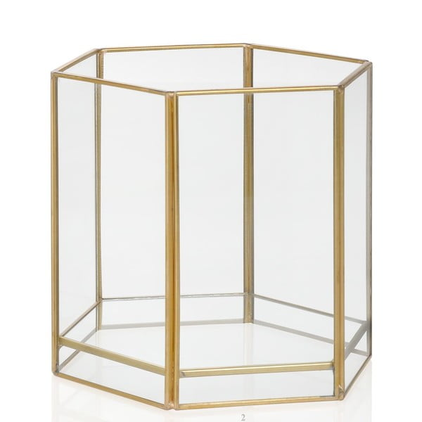 Svícen Gold Hex, výška 13.7 cm