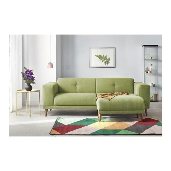 Zelená třímístná pohovka s podnožkou Bobochic Paris Luna