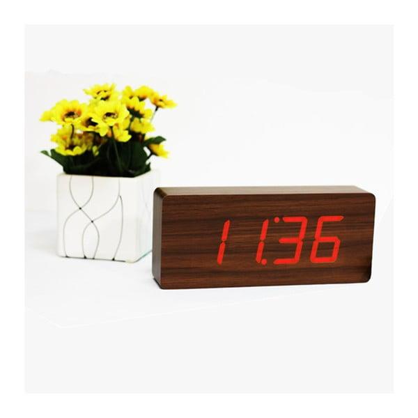 Ceas deșteptător cu LED Gingko Slab Click Clock, maro - roșu