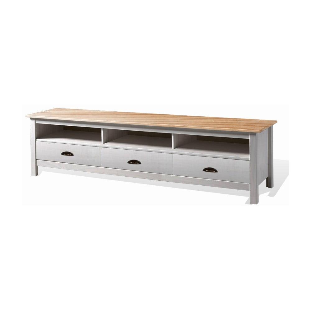 Bílý TV stolek z borovicového dřeva se 3 zásuvkami SOB Irelia