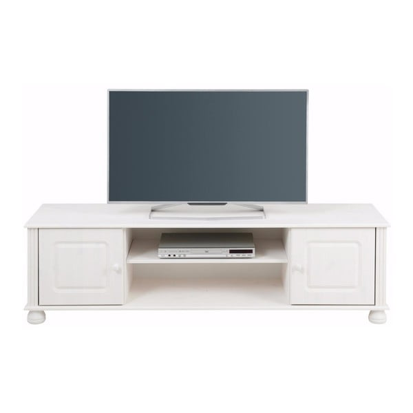 Bílý dvoudveřový TV stolek z masivního borovicového dřeva Støraa Ella