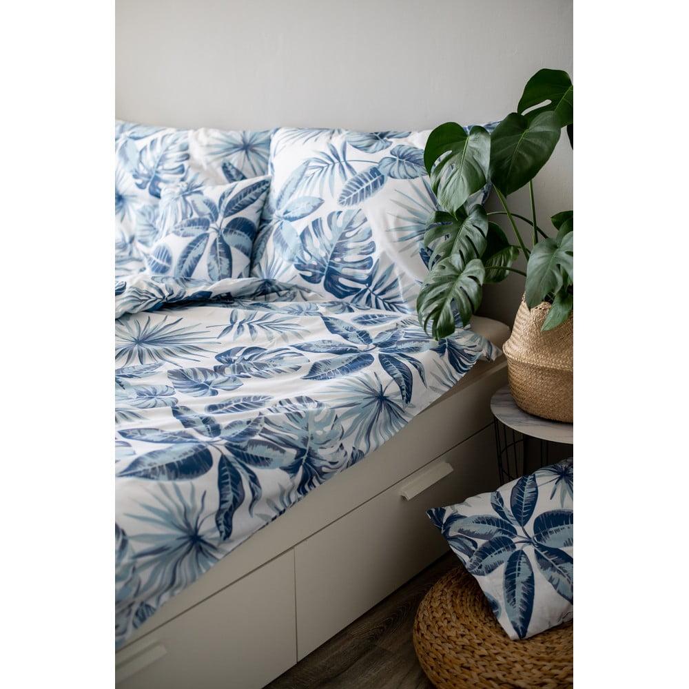 Modré bavlněné povlečení Cotton House Monstera, 140 x 200 cm