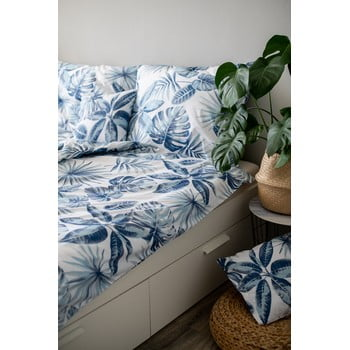 Lenjerie de pat din bumbac Cotton House Monstera, 140 x 200 cm, albastru poza
