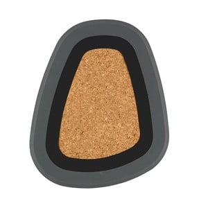 Třídílná podložka pod horké nápoje Pebble, černá a šedá